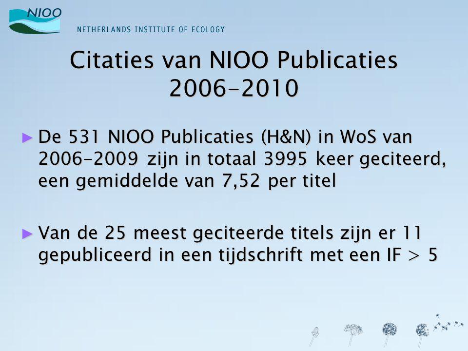 Citaties van NIOO Publicaties 2006-2010 ► De 531 NIOO Publicaties (H&N) in WoS van 2006-2009 zijn in totaal 3995 keer geciteerd, een gemiddelde van 7,52 per titel ► Van de 25 meest geciteerde titels zijn er 11 gepubliceerd in een tijdschrift met een IF > 5