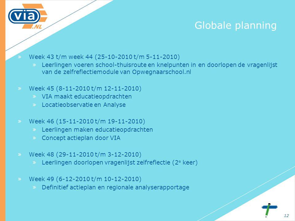12 Globale planning »Week 43 t/m week 44 (25-10-2010 t/m 5-11-2010) »Leerlingen voeren school-thuisroute en knelpunten in en doorlopen de vragenlijst van de zelfreflectiemodule van Opwegnaarschool.nl »Week 45 (8-11-2010 t/m 12-11-2010) »VIA maakt educatieopdrachten »Locatieobservatie en Analyse »Week 46 (15-11-2010 t/m 19-11-2010) »Leerlingen maken educatieopdrachten »Concept actieplan door VIA »Week 48 (29-11-2010 t/m 3-12-2010) »Leerlingen doorlopen vragenlijst zelfreflectie (2 e keer) »Week 49 (6-12-2010 t/m 10-12-2010) »Definitief actieplan en regionale analyserapportage