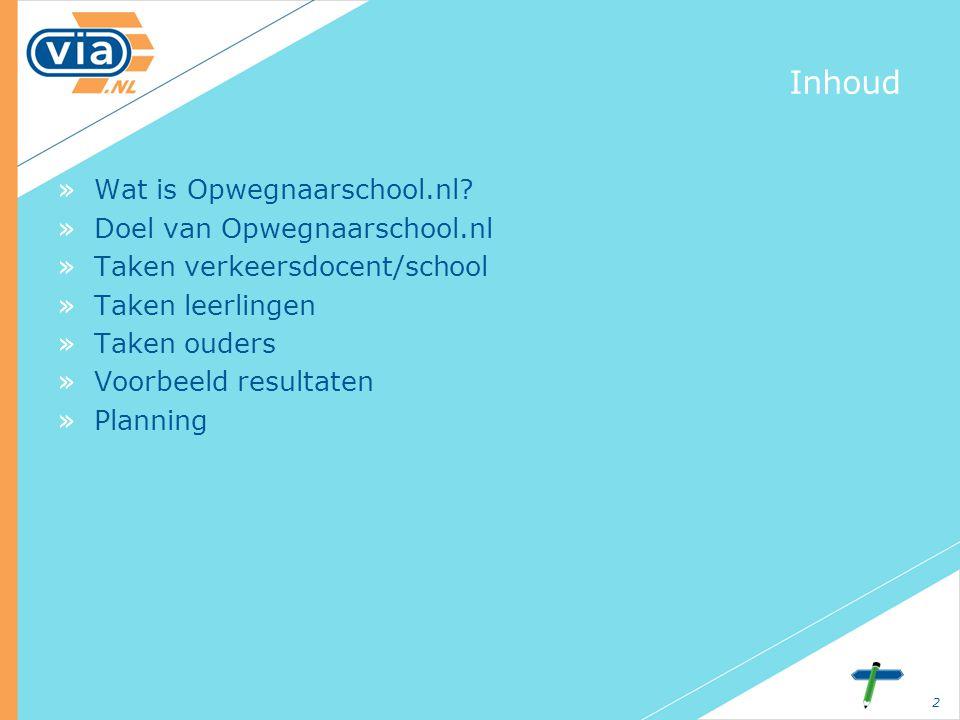 2 Inhoud »Wat is Opwegnaarschool.nl? »Doel van Opwegnaarschool.nl »Taken verkeersdocent/school »Taken leerlingen »Taken ouders »Voorbeeld resultaten »