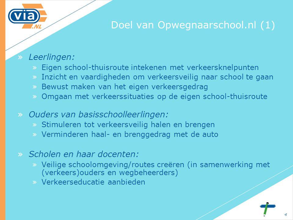 4 Doel van Opwegnaarschool.nl (1) »Leerlingen: »Eigen school-thuisroute intekenen met verkeersknelpunten »Inzicht en vaardigheden om verkeersveilig na