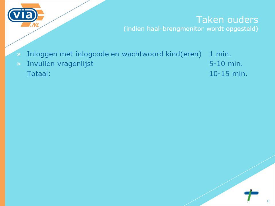 8 Taken ouders (indien haal-brengmonitor wordt opgesteld) »Inloggen met inlogcode en wachtwoord kind(eren) 1 min.