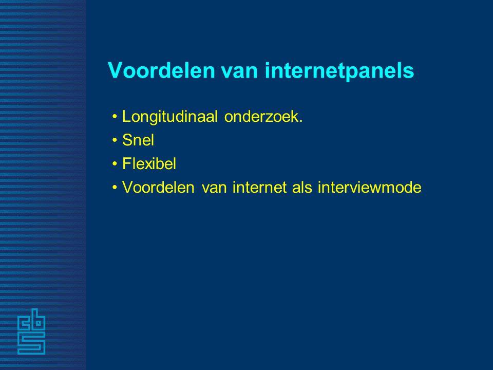 Voordelen van internetpanels • Longitudinaal onderzoek. • Snel • Flexibel • Voordelen van internet als interviewmode