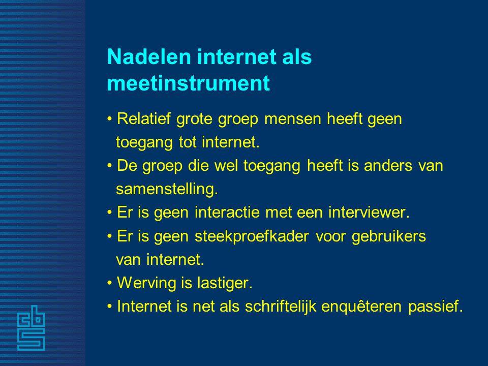Nadelen internet als meetinstrument • Relatief grote groep mensen heeft geen toegang tot internet. • De groep die wel toegang heeft is anders van same