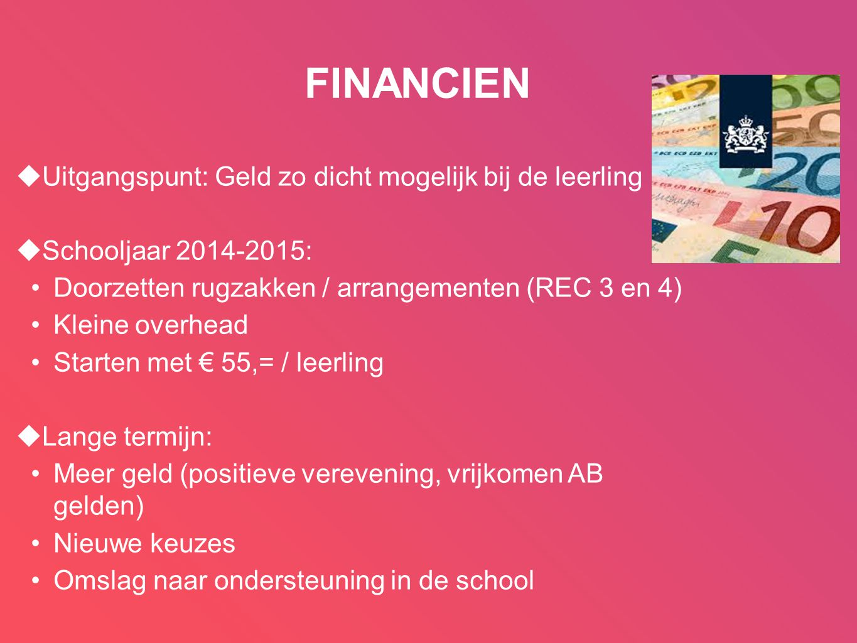 FINANCIEN  Uitgangspunt: Geld zo dicht mogelijk bij de leerling  Schooljaar 2014-2015: •Doorzetten rugzakken / arrangementen (REC 3 en 4) •Kleine ov