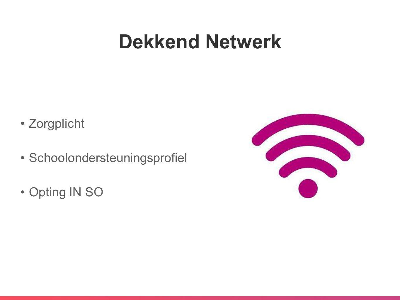 Dekkend Netwerk •Zorgplicht •Schoolondersteuningsprofiel •Opting IN SO