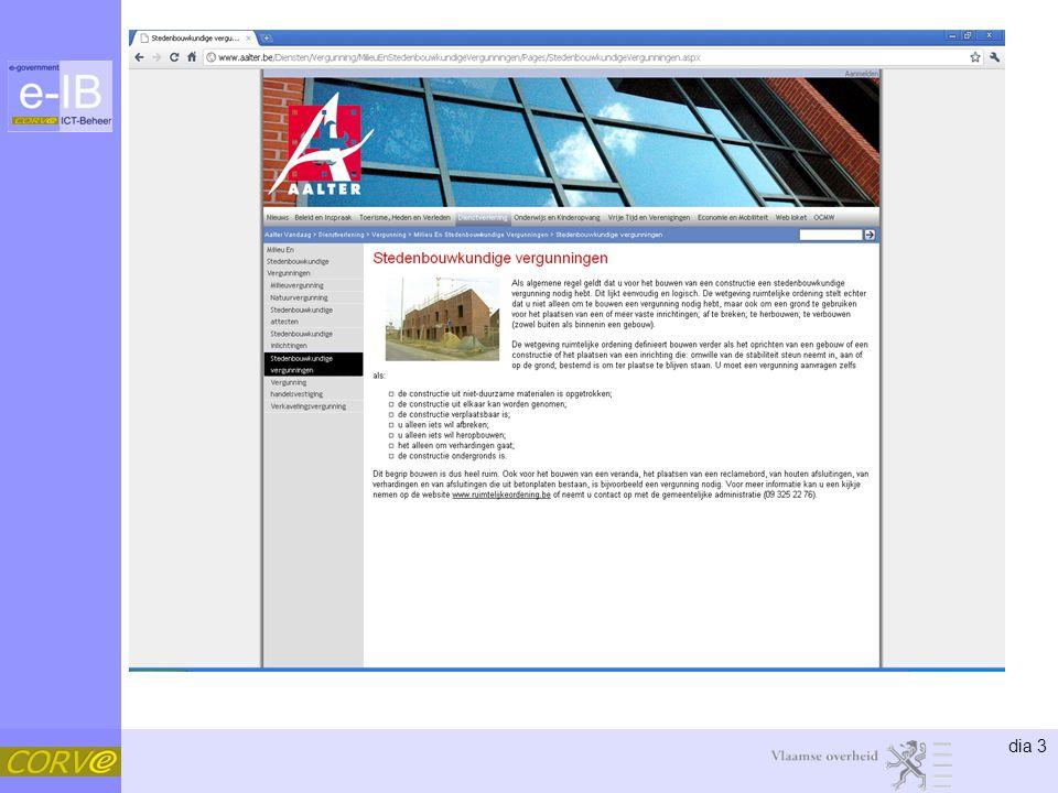 dia 24 IPDC •= Interbestuurlijke producten- en dienstencatalogus •Overzicht van de overheidsdienstverlening •Betere informatieverlening.