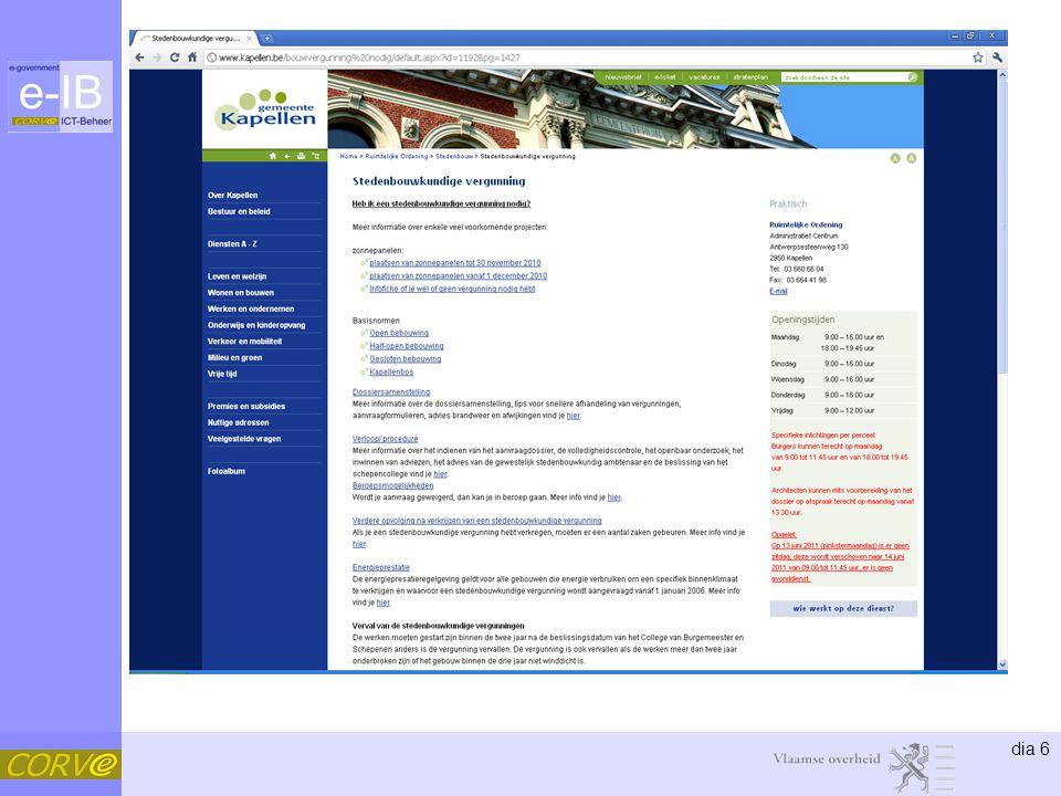 dia 37 Samenwerken •Organisatie –Redactie/eindredactie •IPDC-stuurgroep •IPDC redactieoverleg –IPDC-redactiegids / -stijlgids –Feedback –Beslissingen •Redactiegroepen –Netwerk (najaar 2011) •Vlaamse overheidsdiensten •Lokale besturen 22
