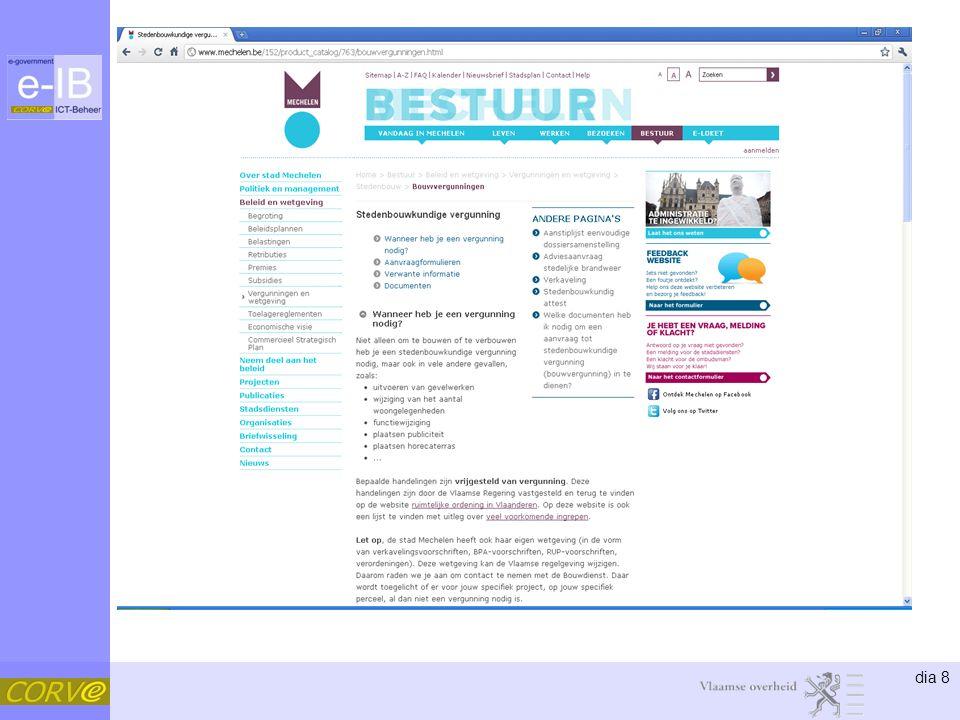 dia 29 Concept •Classificatie –Naam –Type –Doelgroep –Thema –Afleverende dienst –Bevoegde dienst –Beheerinformatie: creatiedatum, wijzigingsdatum, archiefdatum 1