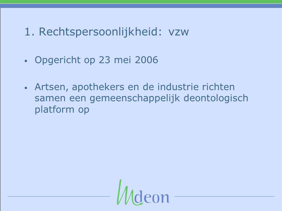 1. Rechtspersoonlijkheid: vzw • Opgericht op 23 mei 2006 • Artsen, apothekers en de industrie richten samen een gemeenschappelijk deontologisch platfo