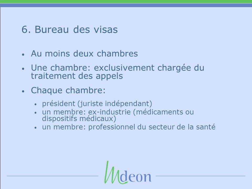6. Bureau des visas • Au moins deux chambres • Une chambre: exclusivement chargée du traitement des appels • Chaque chambre: • président (juriste indé