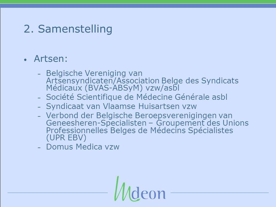 2. Samenstelling • Artsen: – Belgische Vereniging van Artsensyndicaten/Association Belge des Syndicats Médicaux (BVAS-ABSyM) vzw/asbl – Société Scient