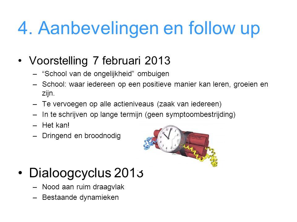 """4. Aanbevelingen en follow up •Voorstelling 7 februari 2013 –""""School van de ongelijkheid"""" ombuigen –School: waar iedereen op een positieve manier kan"""