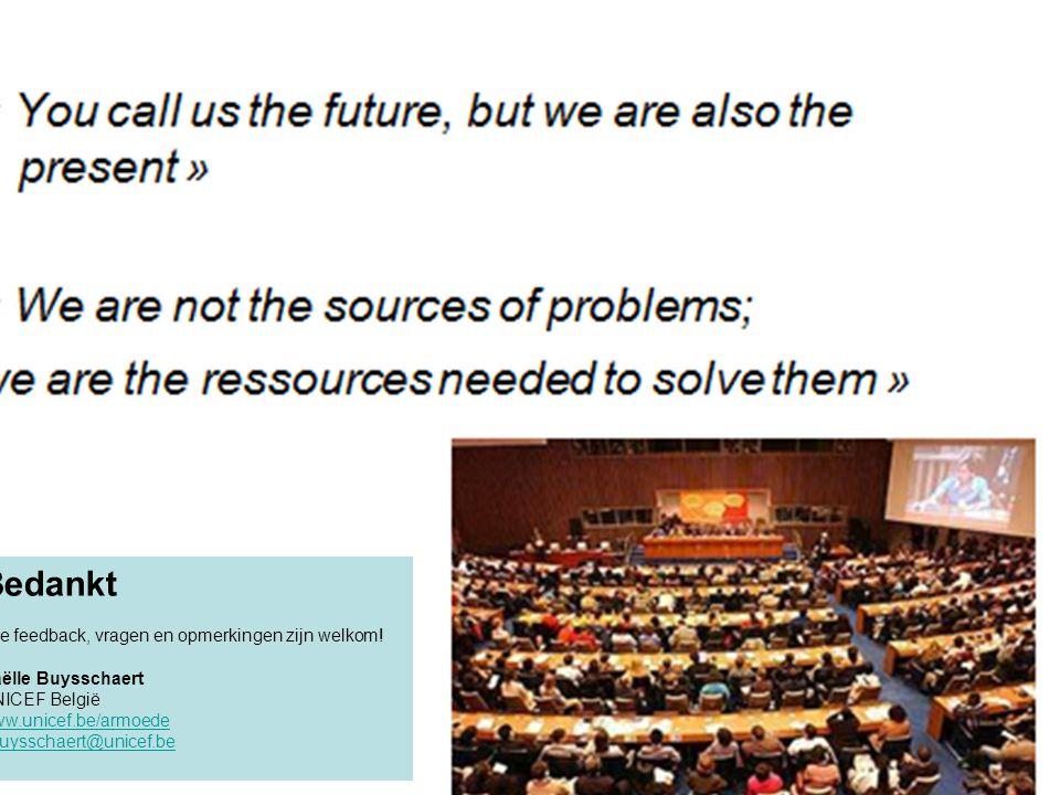 Bedankt Alle feedback, vragen en opmerkingen zijn welkom! Gaëlle Buysschaert UNICEF België www.unicef.be/armoede gbuysschaert@unicef.be