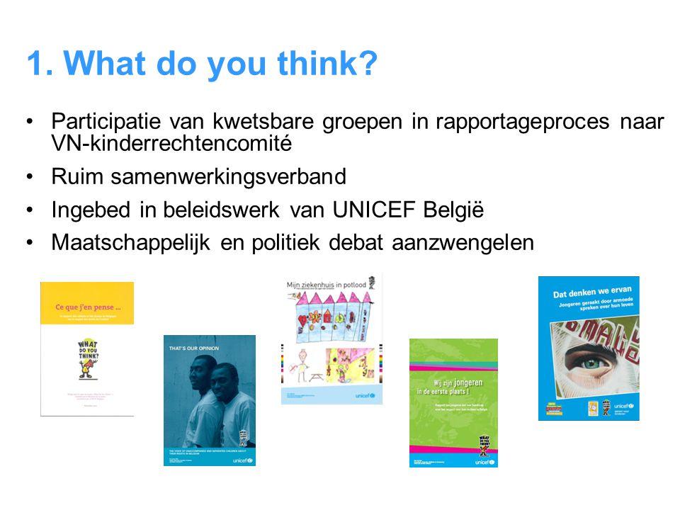 1. What do you think? •Participatie van kwetsbare groepen in rapportageproces naar VN-kinderrechtencomité •Ruim samenwerkingsverband •Ingebed in belei