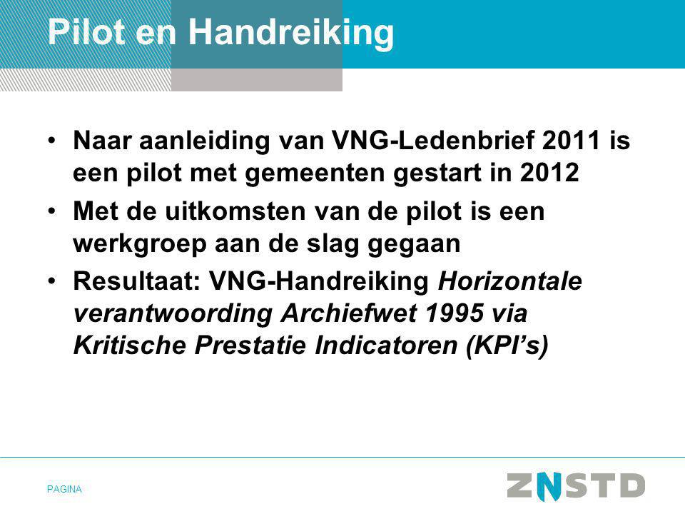 PAGINA Pilot en Handreiking •Naar aanleiding van VNG-Ledenbrief 2011 is een pilot met gemeenten gestart in 2012 •Met de uitkomsten van de pilot is een