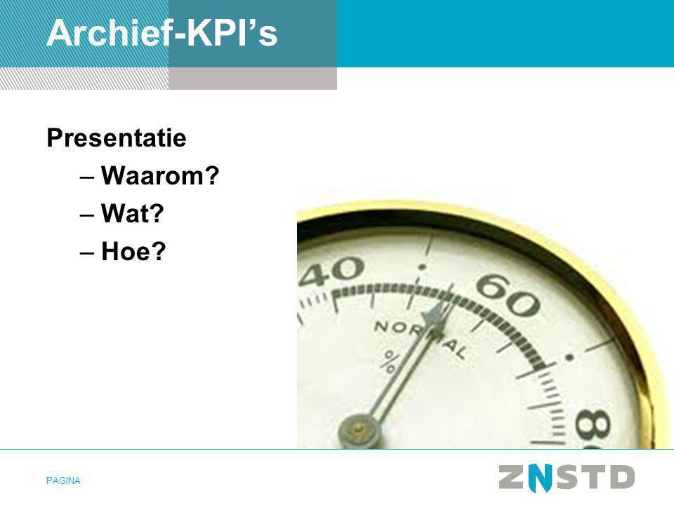 PAGINA Archief-KPI's Presentatie –Waarom? –Wat? –Hoe?