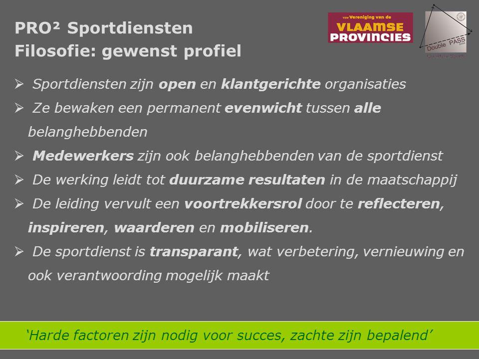  De sportdienst is gestructureerd op basis van gedocumenteerde en samenhangende processen, uitgaande van toegevoegde waarde voor belanghebbenden  Maatschappelijke verandering vereist een continu proces van verbetering en vernieuwing a.d.h.v.