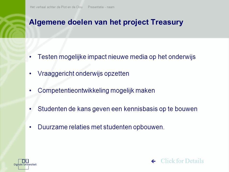 Het verhaal achter de Plot en de Clou Presentatie - naam Algemene doelen van het project Treasury •Testen mogelijke impact nieuwe media op het onderwi