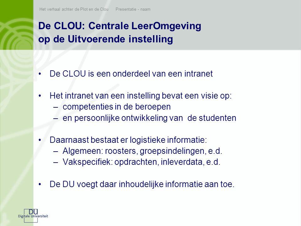Het verhaal achter de Plot en de Clou Presentatie - naam De CLOU: Centrale LeerOmgeving op de Uitvoerende instelling •De CLOU is een onderdeel van een