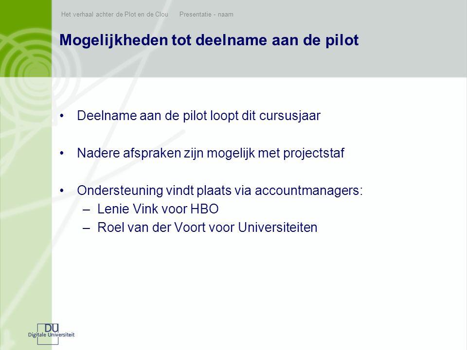 Het verhaal achter de Plot en de Clou Presentatie - naam Mogelijkheden tot deelname aan de pilot •Deelname aan de pilot loopt dit cursusjaar •Nadere a