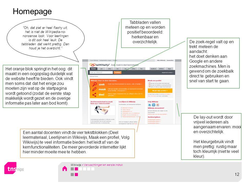 Homepage Tabbladen vallen meteen op en worden positief beoordeeld: herkenbaar en overzichtelijk.