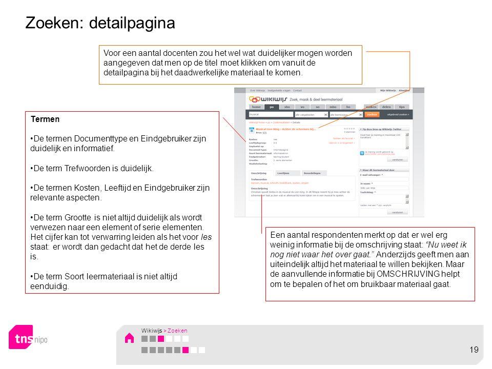Zoeken: detailpagina Termen •De termen Documenttype en Eindgebruiker zijn duidelijk en informatief.