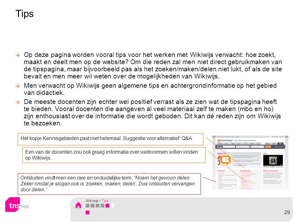 Op deze pagina worden vooral tips voor het werken met Wikiwijs verwacht: hoe zoekt, maakt en deelt men op de website.