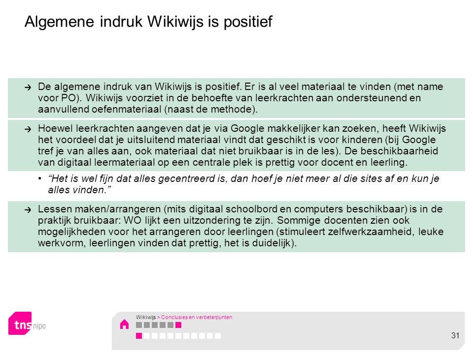 De algemene indruk van Wikiwijs is positief. Er is al veel materiaal te vinden (met name voor PO).