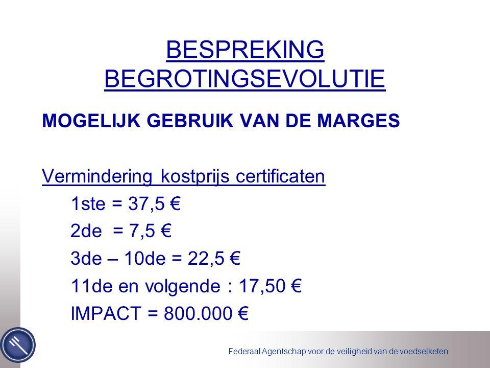 Federaal Agentschap voor de veiligheid van de voedselketen BESPREKING BEGROTINGSEVOLUTIE MOGELIJK GEBRUIK VAN DE MARGES Vermindering kostprijs certificaten 1ste = 37,5 € 2de = 7,5 € 3de – 10de = 22,5 € 11de en volgende : 17,50 € IMPACT = 800.000 €