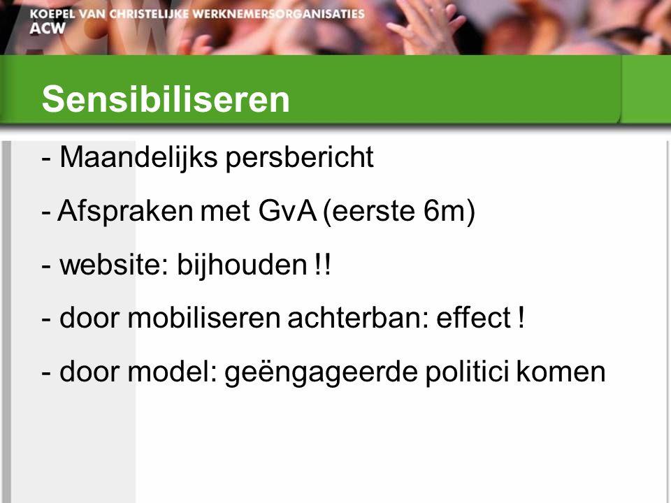 Sensibiliseren - Maandelijks persbericht - Afspraken met GvA (eerste 6m) - website: bijhouden !! - door mobiliseren achterban: effect ! - door model:
