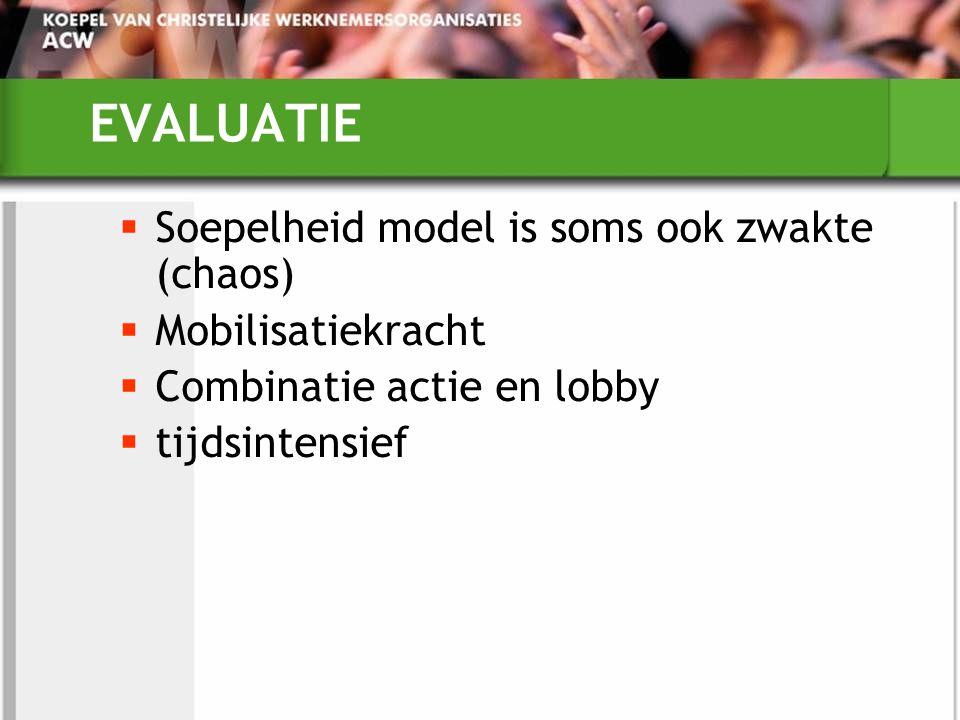 EVALUATIE  Soepelheid model is soms ook zwakte (chaos)  Mobilisatiekracht  Combinatie actie en lobby  tijdsintensief