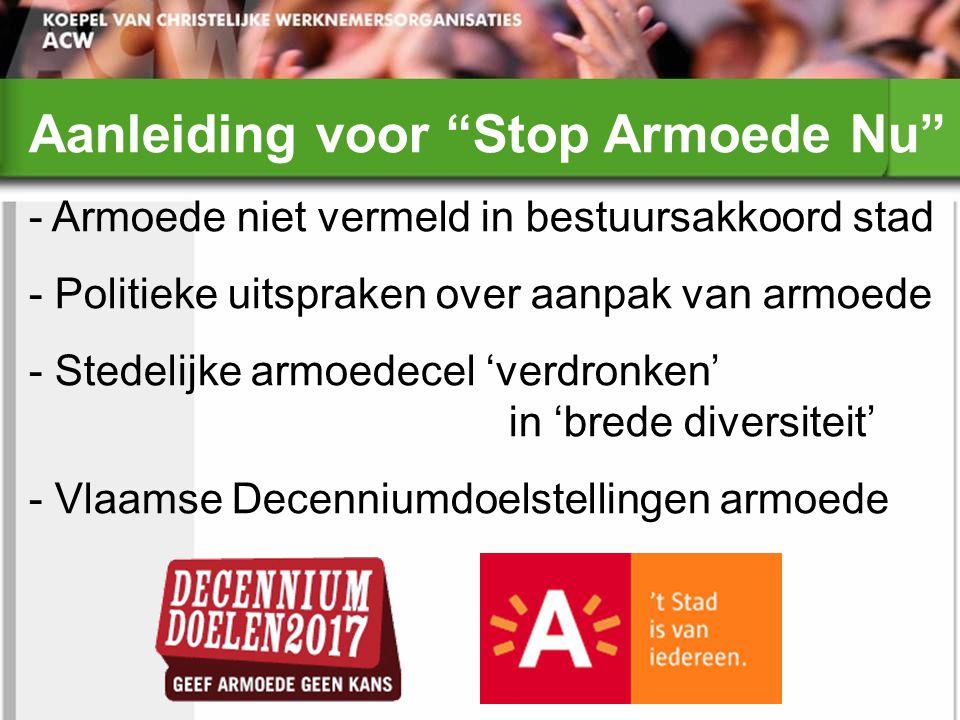 Aanleiding voor Stop Armoede Nu - Armoede niet vermeld in bestuursakkoord stad - Politieke uitspraken over aanpak van armoede - Stedelijke armoedecel 'verdronken' in 'brede diversiteit' - Vlaamse Decenniumdoelstellingen armoede