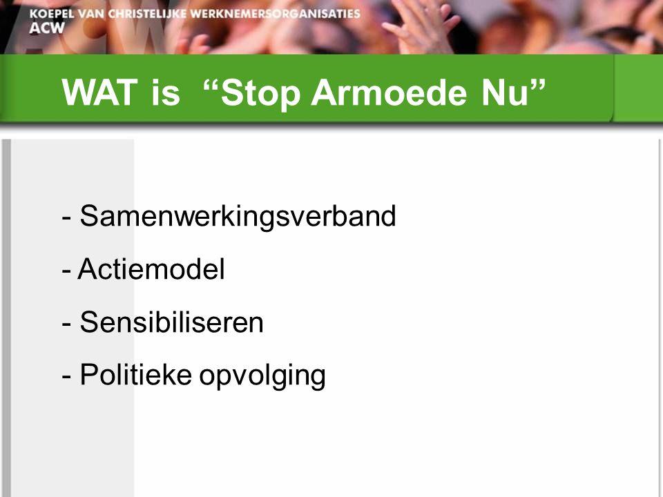 WAT is Stop Armoede Nu - Samenwerkingsverband - Actiemodel - Sensibiliseren - Politieke opvolging