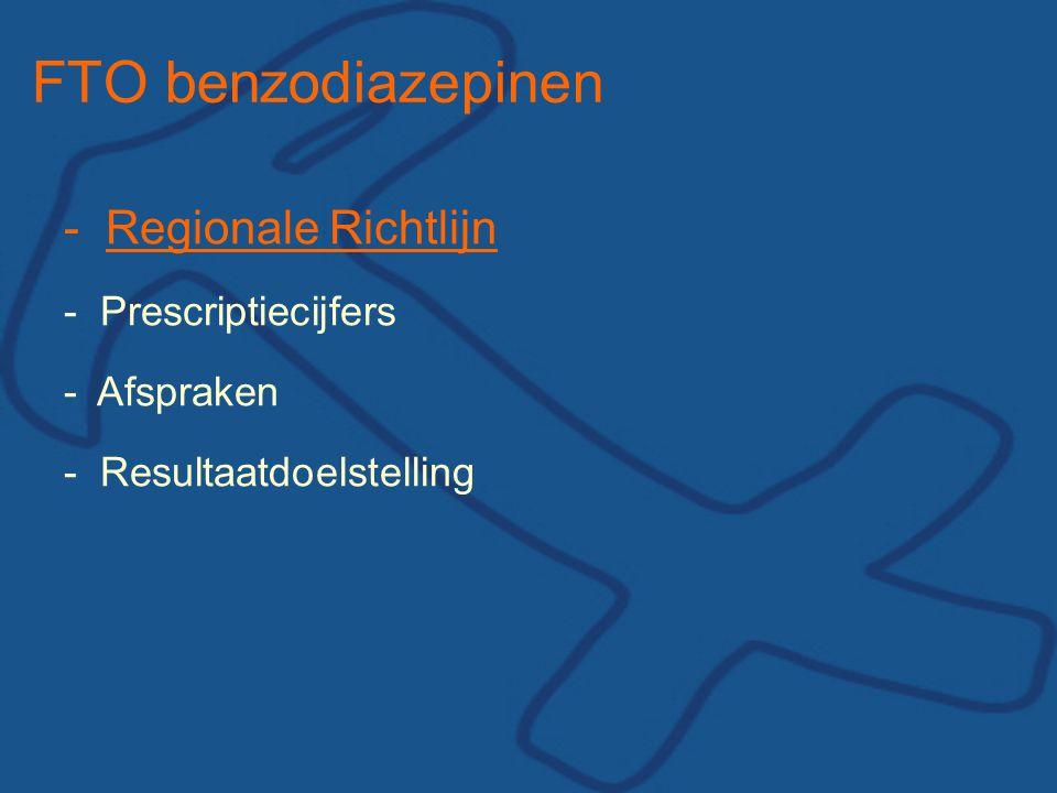 FTO benzodiazepinen - Regionale Richtlijn - Prescriptiecijfers -Afspraken - Resultaatdoelstelling