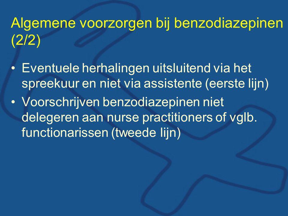 Algemene voorzorgen bij benzodiazepinen (2/2) •Eventuele herhalingen uitsluitend via het spreekuur en niet via assistente (eerste lijn) •Voorschrijven benzodiazepinen niet delegeren aan nurse practitioners of vglb.