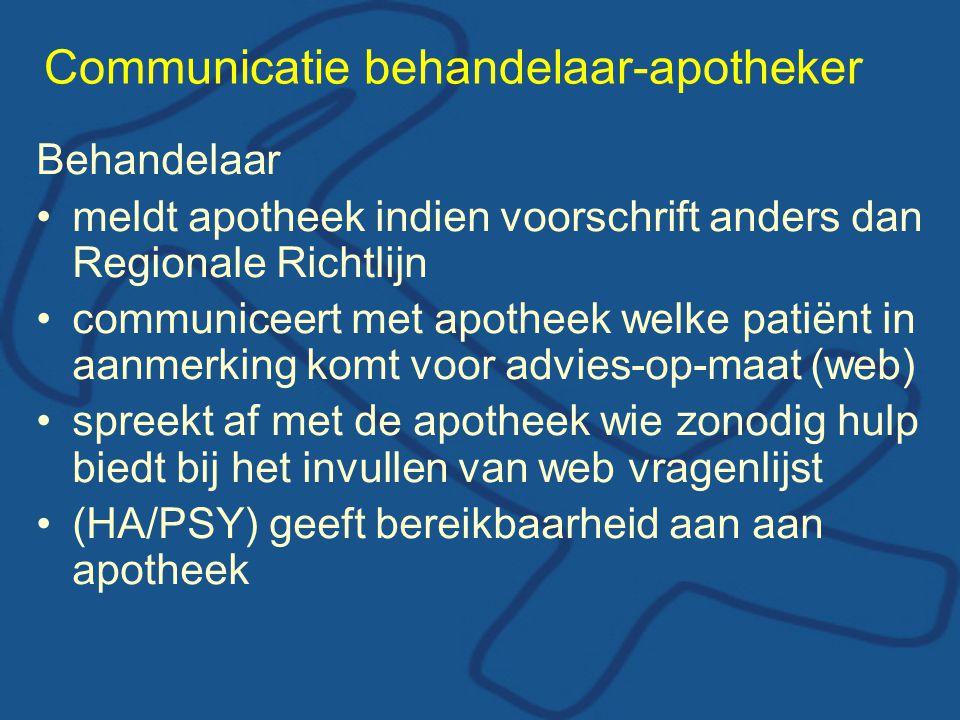 Communicatie behandelaar-apotheker Behandelaar •meldt apotheek indien voorschrift anders dan Regionale Richtlijn •communiceert met apotheek welke pati