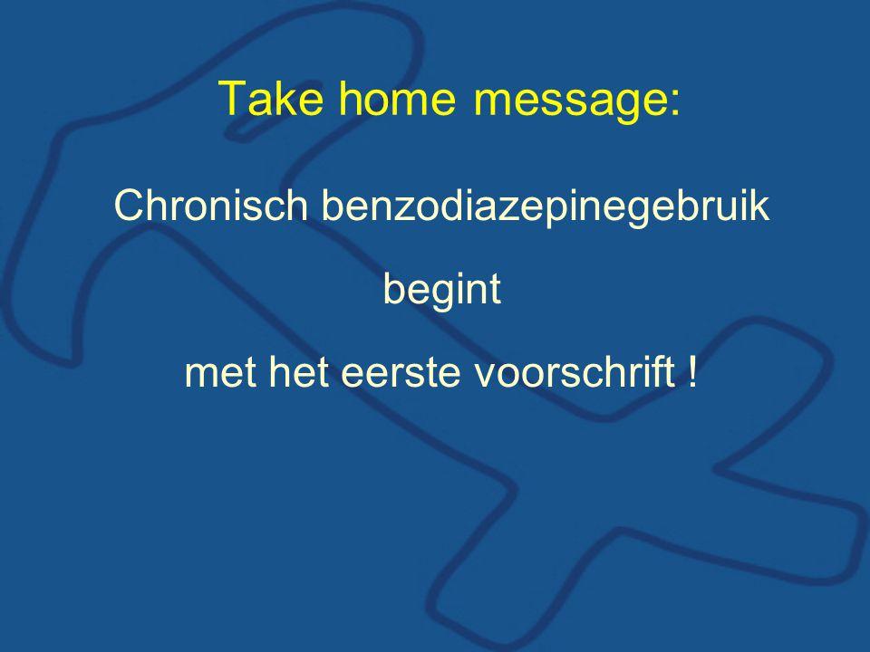 Chronisch benzodiazepinegebruik begint met het eerste voorschrift ! Take home message: