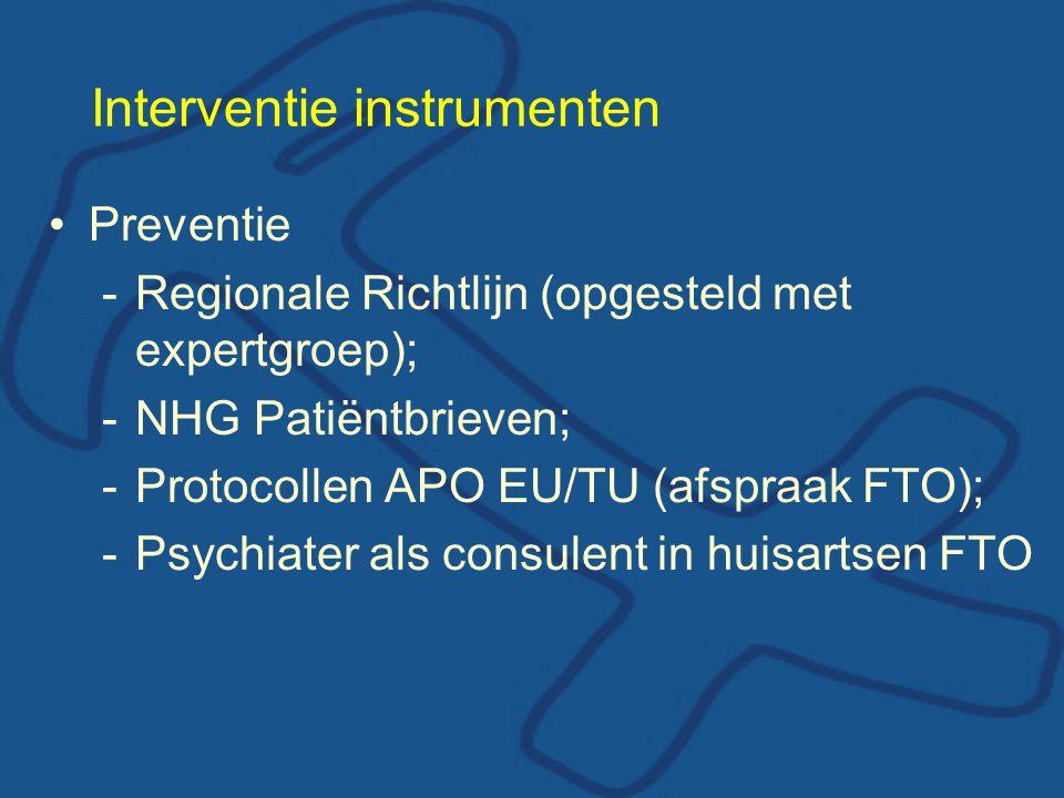 Interventie instrumenten •Preventie -Regionale Richtlijn (opgesteld met expertgroep); -NHG Patiëntbrieven; -Protocollen APO EU/TU (afspraak FTO); -Psychiater als consulent in huisartsen FTO