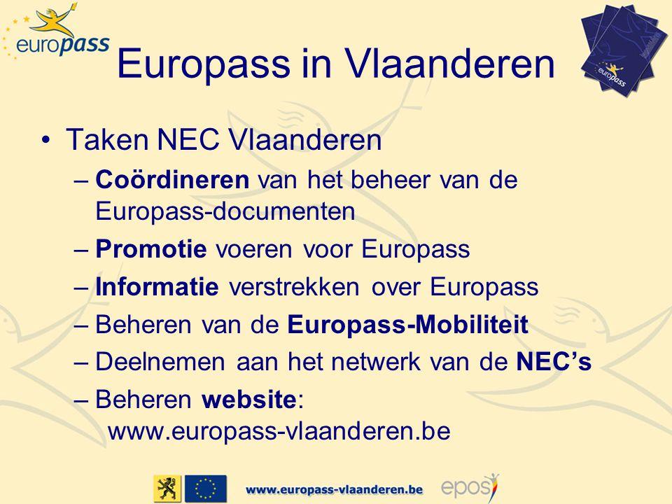 Europass in Vlaanderen •Taken NEC Vlaanderen –Coördineren van het beheer van de Europass-documenten –Promotie voeren voor Europass –Informatie verstre