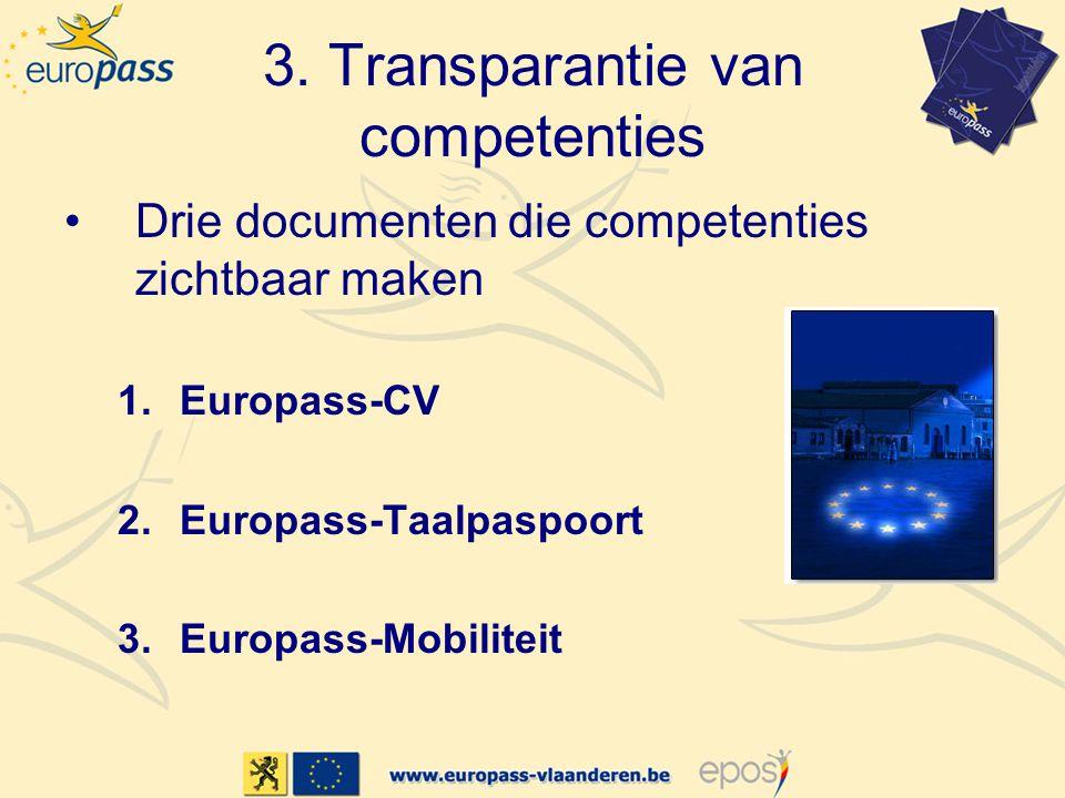 •Drie documenten die competenties zichtbaar maken 1.Europass-CV 2.Europass-Taalpaspoort 3.Europass-Mobiliteit