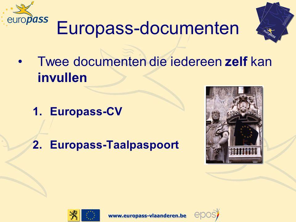 Europass-documenten •Twee documenten die iedereen zelf kan invullen 1.Europass-CV 2.Europass-Taalpaspoort