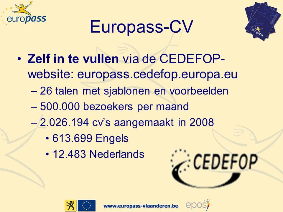 Europass-CV •Zelf in te vullen via de CEDEFOP- website: europass.cedefop.europa.eu –26 talen met sjablonen en voorbeelden –500.000 bezoekers per maand –2.026.194 cv's aangemaakt in 2008 •613.699 Engels •12.483 Nederlands