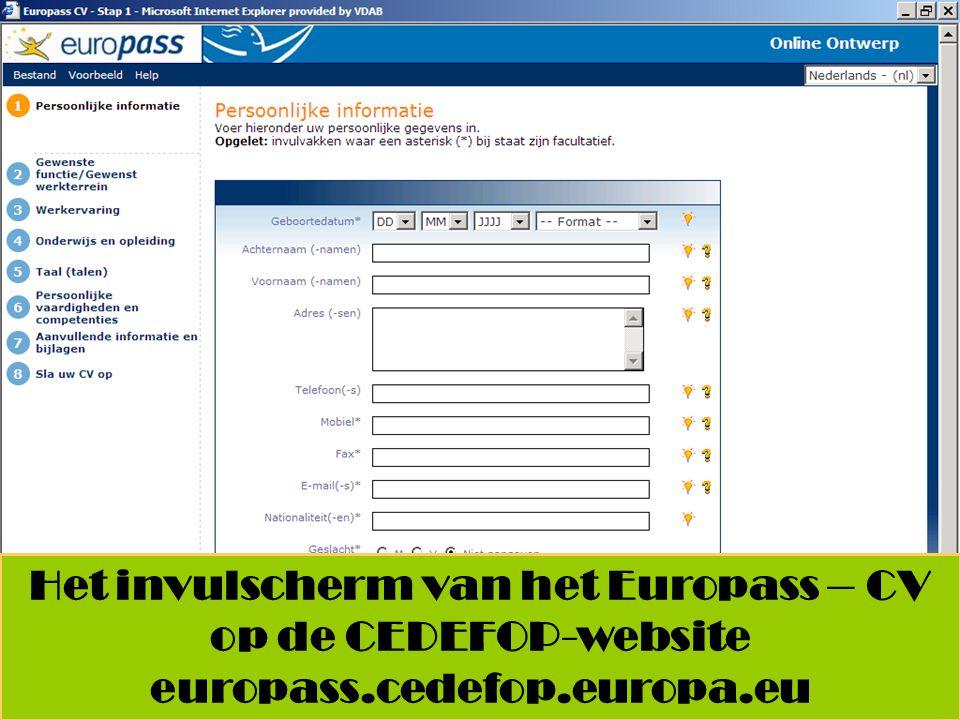 Het invulscherm van het Europass – CV op de CEDEFOP-website europass.cedefop.europa.eu