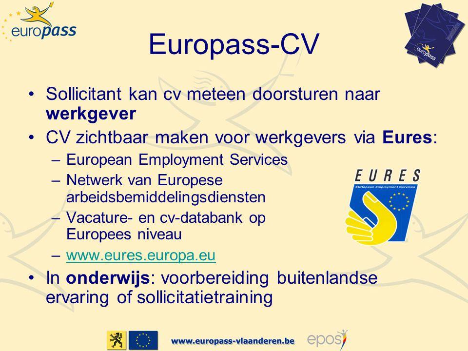 Europass-CV •Sollicitant kan cv meteen doorsturen naar werkgever •CV zichtbaar maken voor werkgevers via Eures: –European Employment Services –Netwerk