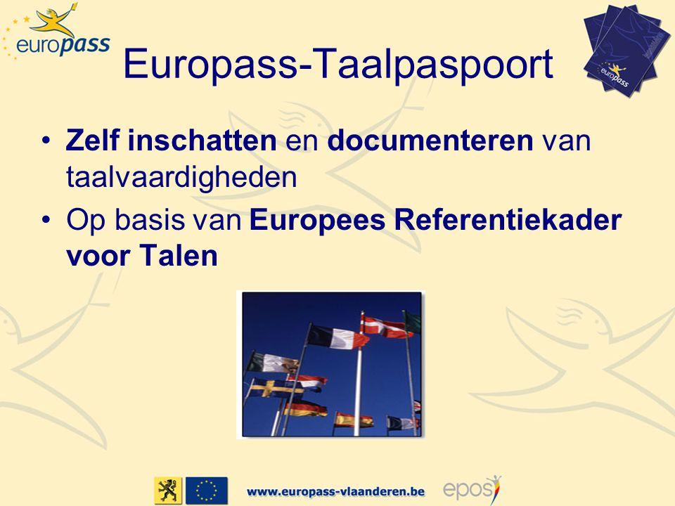 Europass-Taalpaspoort •Zelf inschatten en documenteren van taalvaardigheden •Op basis van Europees Referentiekader voor Talen