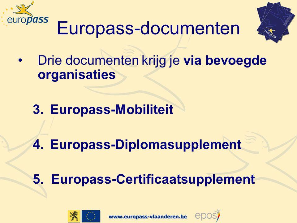 Europass-documenten •Drie documenten krijg je via bevoegde organisaties 3.Europass-Mobiliteit 4.Europass-Diplomasupplement 5. Europass-Certificaatsupp