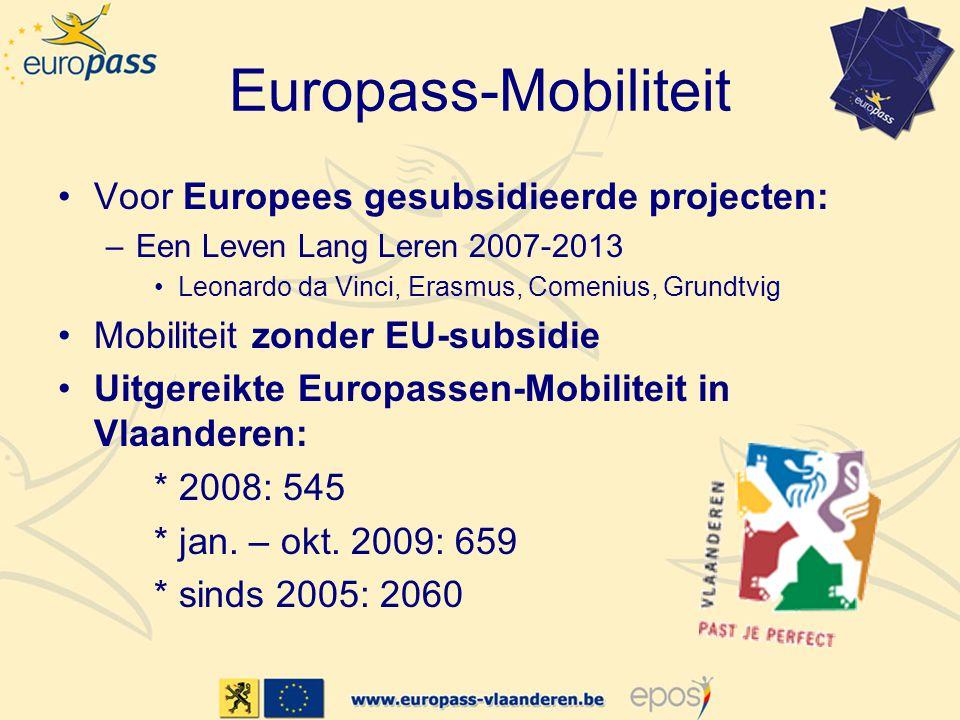 Europass-Mobiliteit •Voor Europees gesubsidieerde projecten: –Een Leven Lang Leren 2007-2013 •Leonardo da Vinci, Erasmus, Comenius, Grundtvig •Mobiliteit zonder EU-subsidie •Uitgereikte Europassen-Mobiliteit in Vlaanderen: * 2008: 545 * jan.
