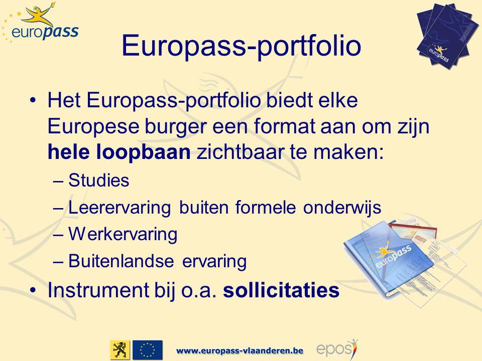 Europass-portfolio •Het Europass-portfolio biedt elke Europese burger een format aan om zijn hele loopbaan zichtbaar te maken: –Studies –Leerervaring