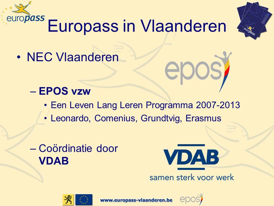 Europass in Vlaanderen •Taken NEC Vlaanderen –Coördineren van het beheer van de Europass-documenten –Promotie voeren voor Europass –Informatie verstrekken over Europass –Beheren van de Europass-Mobiliteit –Deelnemen aan het netwerk van de NEC's –Beheren website: www.europass-vlaanderen.be
