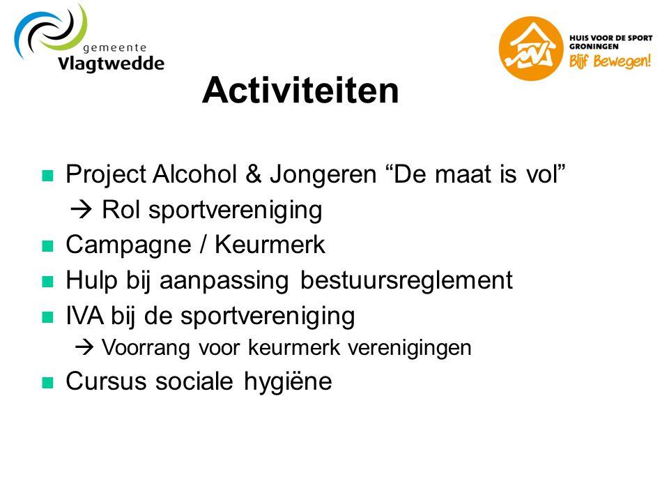 Activiteiten  Project Alcohol & Jongeren De maat is vol  Rol sportvereniging  Campagne / Keurmerk  Hulp bij aanpassing bestuursreglement  IVA bij de sportvereniging  Voorrang voor keurmerk verenigingen  Cursus sociale hygiëne